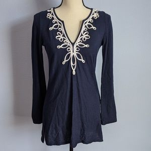 Lilly Pulitzer Navy and White embroidered Tunic XS
